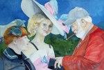 Herausgeputzt beim Ladiesday (c) Aquarell von Frank Koebsch