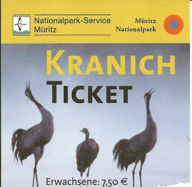 Kranichticket des Müritz-Nationalparks