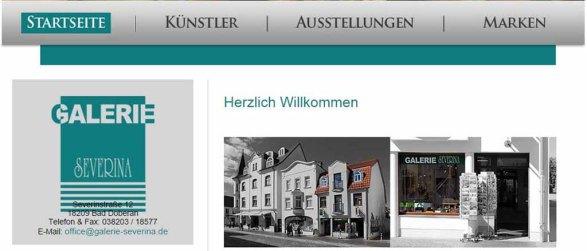 Web Seite der Galerie Severina mit Fotos von Frank Koebsch