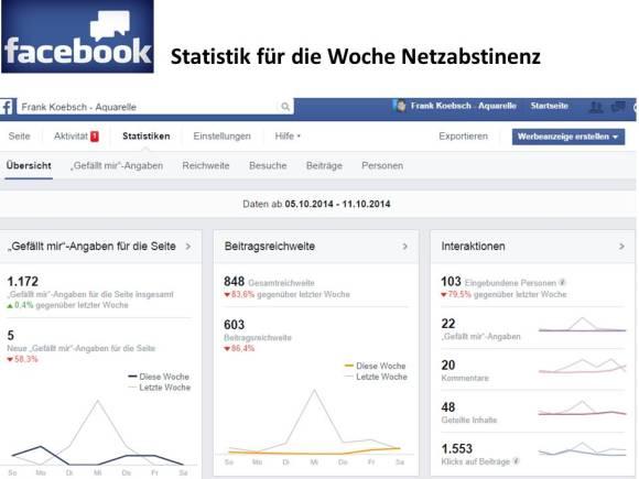 Facebook - Statistik für die Woche Netzabstinenz (c) Frank Koebsch