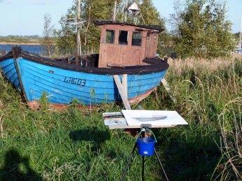 Ein Aquarell von einem Kutter entsteht im Hafen von Gager (c) FRank Koebsch