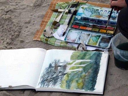 Gespensterwald als Aquarell im Skizzenbuch einer Malschülerin (c) FRank Koebsch
