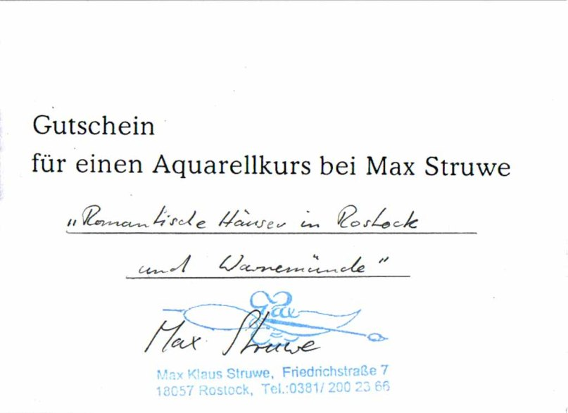 Gutschein für einen Aquarellkurs bei Max Struwe - 2004