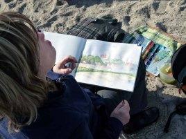 Kühlungsborner Silhouette im Skizzenbuch einer Malschülerin (c) Frank Koebsch