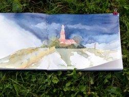 Leuchtturm von Bastorf im Skizzenbuch einer Malschülerin (c) Frank Koebsch