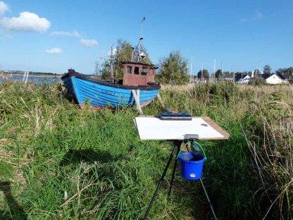 Malen im Hafen von Gager (c) Frank Koebsch (1)