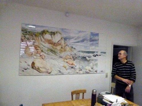 Max Struwe mit seinem riesigen Rügen Aquarell (c) Frank Koebsch