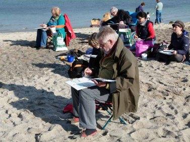 Sonne am Strand und die Kühlungsborner Silhouette auf dem Papier (c) Frank Koebsch (2)