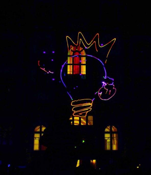Symbol der Rostocker Lichtwoche bei der Lasershow (c) Frank Koebsch