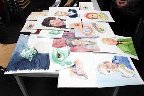 Ergebnisse aus dem Workshop Grundlagen des Portraits in Aquarell (c) Frank Koebsch