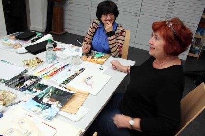 Gute Stimmung bei den Teilnehmern des Portraitkurses (c) FRank Koebsch