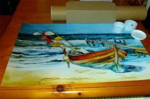 Posterdruck vom Aquarell Boot am Strand (c) Frank Koebsch