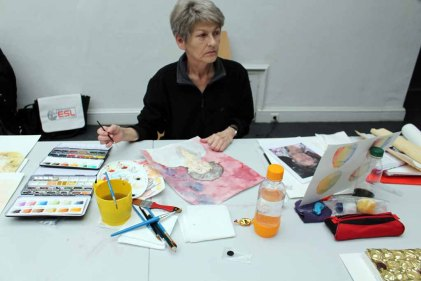 Teilnehmer am Kurs Grundlagen des Portraits in Aquarell (c) Frank Koebsch (2)