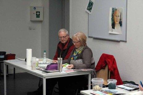 Teilnehmer am Kurs Grundlagen des Portraits in Aquarell (c) Frank Koebsch (3)