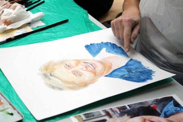 Zwischenergebnis aus dem Kurs Grundlagen des Portraits in Aquarell (c) Frank Koebsch