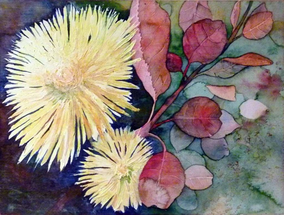 Chrysanthemen als Blumengruß (c) Aquarell von Frank Koebsch