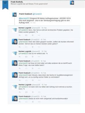 Kundenbeschwerde bei dem Support von Hermes über Twitter Teil 1