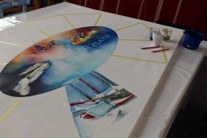 Das erste Motiv entsteht auf der Leinwand für Rostock Kreativ 2015 (c) Frank Koebsch (7)