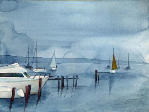 Ein Morgen am Salzhaff (c) Aquarell von Frank Koebsch