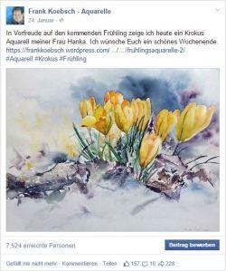 Manche Motive unser Aquarelle sind gefragt, z.B. Hankas Krokusse auf Facebook