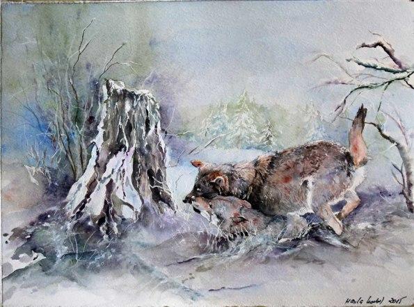 Winterspiel (c) ein Wolfsaquarell von Hanka Koebsch