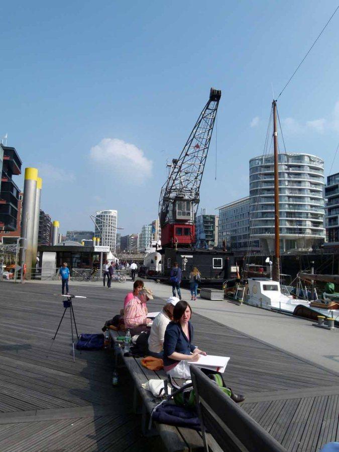 Die Hafencity Hamburgs lädt zum Aquarell malen ein (c) Frank Koebsch