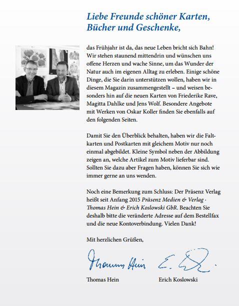 Grußwort von Thomas Hein und Erich Koslowski zum Frühlingsprogramm 2015 des Präsenz Verlages
