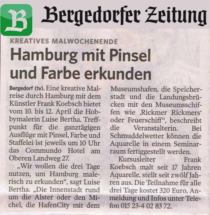 Hamburg mit Pinsel und Farbe erkunden - Bergedorfer Zeitung vom 08.04.2015
