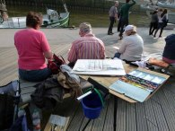 Malreise Hamburg - erste Aquarelle entstehen in der Hafen City (c) Frank Koebsch