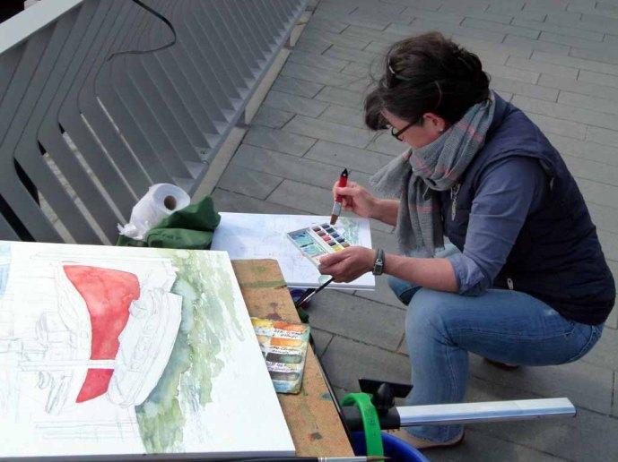 Malreise nach Hamburg - Malen an den Elbpromenaden beim Feuerschiff (c) Frank Koebsch (7)