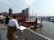 Malreise nach Hamburg - Malen an den Elbpromenaden beim Feuerschiff (c) Frank Koebsch