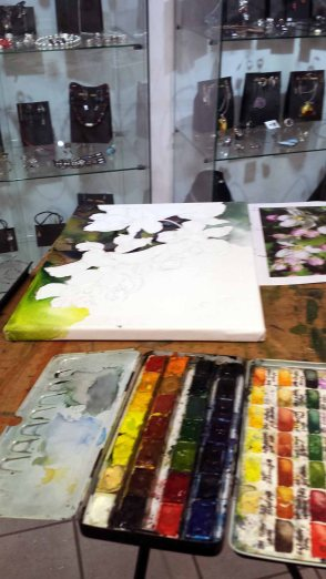 Aquarelle entstehen während Kunst Offen in der Galerie Severina (c) Frank Koebsch