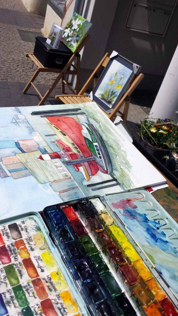 Aquarelle entstehen während Kunst Offen vor der Galerie Severina (c) Frank Koebsch