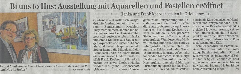 Bi uns to Hus Ausstellung von Hanka u Frank Koebsch mit Aquarellen und Pastellen eröffnet
