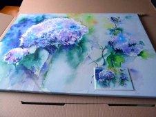 Druck des Aquarells Hortensie in Blau auf Leinwand und als Kunstkarte (c) Frank Koebsch