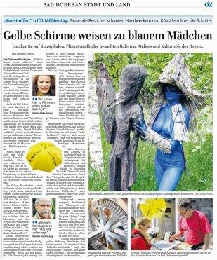 Gelbe Schirme weisen den Weg - Ostsee Zeitung zu Kunst Offen in Bad Doberan 2015 05 26.