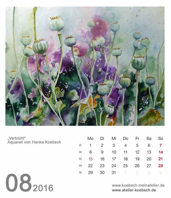 Kalenderblatt August 2016