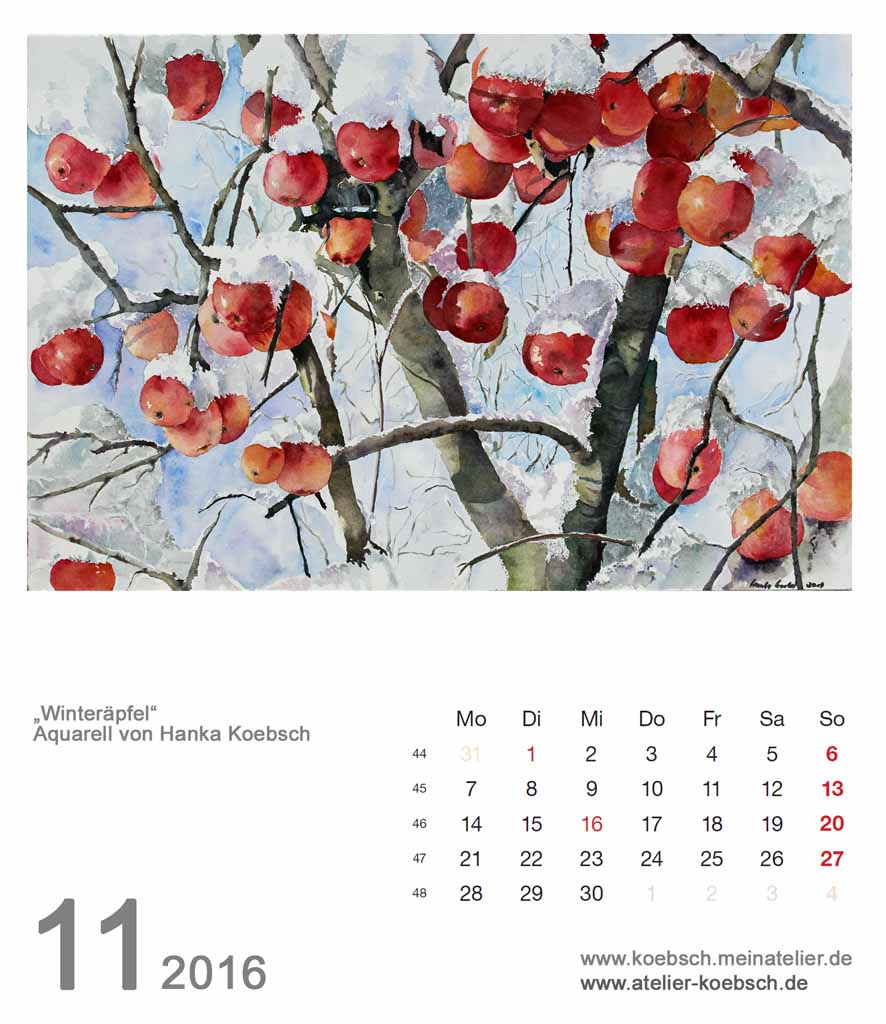 Kalenderblatt November 2016