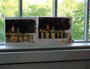 Rostocker Silhouette bei Nacht - Aquarelle der Kursteilnehmer (c) Frank Koebsch (1)