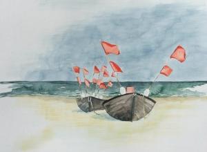 Boote am Strand (c) Aquarell von Frank Koebsch