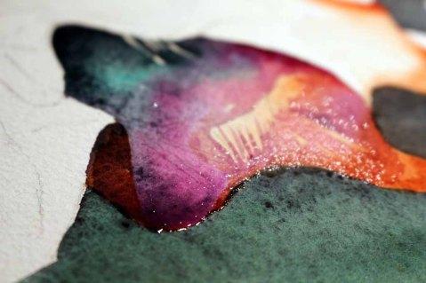 Details der Blüte des Flussteufels enstehen mit Lasuren und Nass in Nass (c) Frank Koebsch (1)