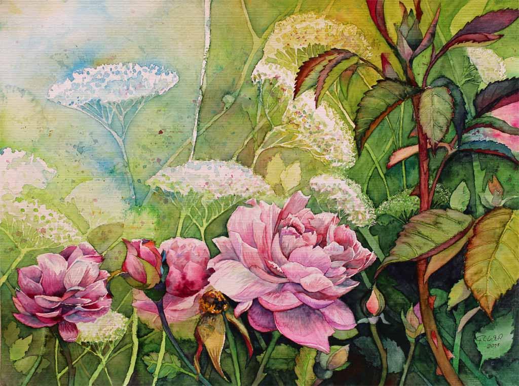rosengarten ein aquarell von frank koebsch bilder aquarelle vom meer mehr von frank koebsch. Black Bedroom Furniture Sets. Home Design Ideas