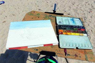 Skizze von den Fischerboote am Strand von Baabe (c) Frank Koebsch