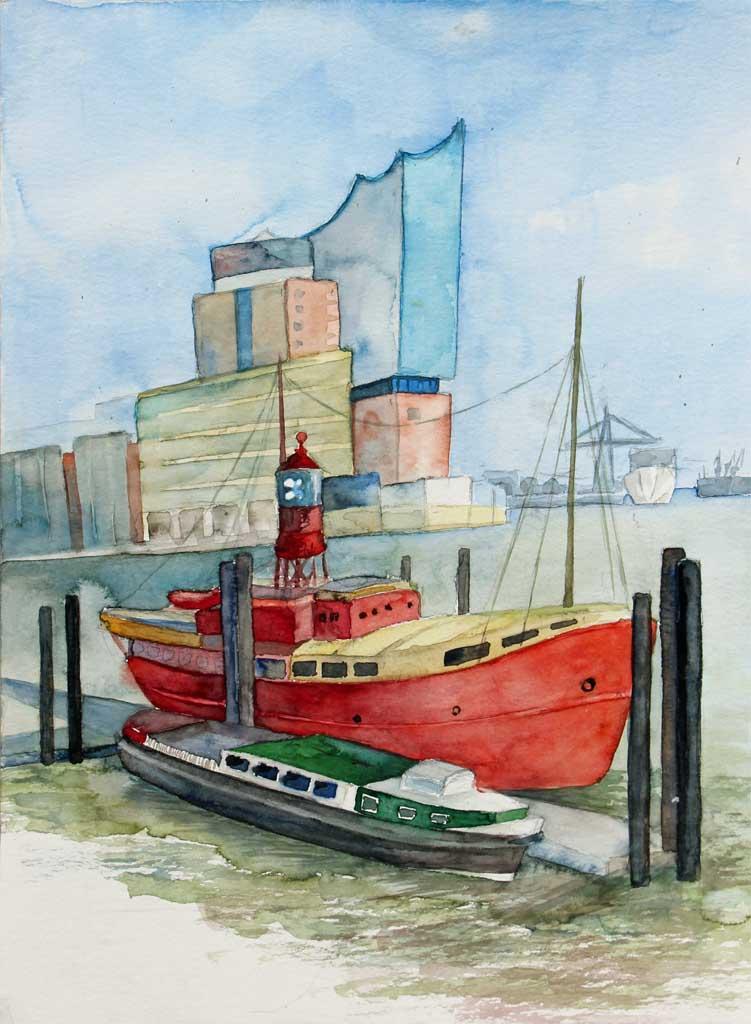 Wahrzeichen des Hamburger Hafens (c) Aquarell für Feuerschiff und Barkasse von Frank Koebsch