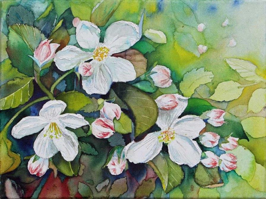 Apfelblüten sind immer wieder eine Pracht (c) Aquarell auf Leinwand von Frank Koebsch