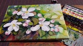 Das fertige Apfelblüten Aquarell auf Leinwand (c) Frank Koebsch