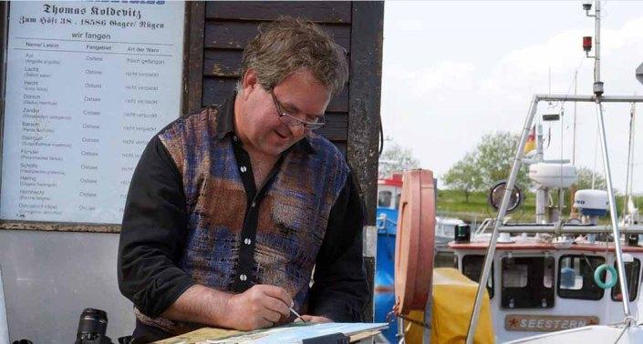 Das Malen macht Spaß - Frank Koebsch im Hafen von Gager