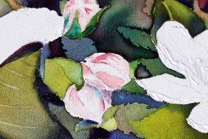 Details der Apfelblüten - Spiel mit Lasuren und Strukturpaste auf Leinwand (c) Frank Koebsch (1)
