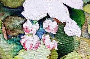 Details der Apfelblüten - Spiel mit Lasuren und Strukturpaste auf Leinwand (c) Frank Koebsch (4)