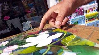 Details der Apfelblüten - Spiel mit Lasuren und Strukturpaste auf Leinwand (c) Frank Koebsch (5)